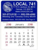 Union Printed Adhesive Calendars, Made in USA