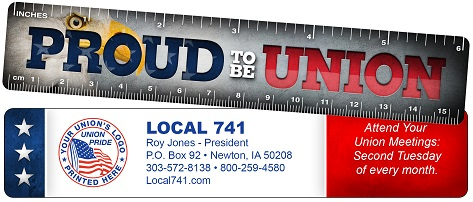 Union Full Color Plastic Rulers, Union Made & Union Printed